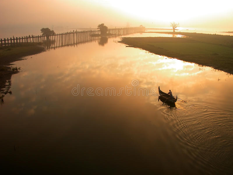 Scenery of Ubein Bridge. In Mandalay Myanmar. The scenes are absolutely fabulous royalty free stock photo