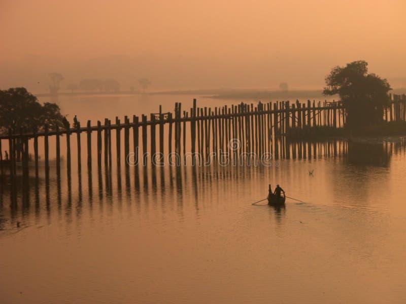 Scenery of Ubein Bridge. In Mandalay Myanmar. The scenes are absolutely fabulous stock photo
