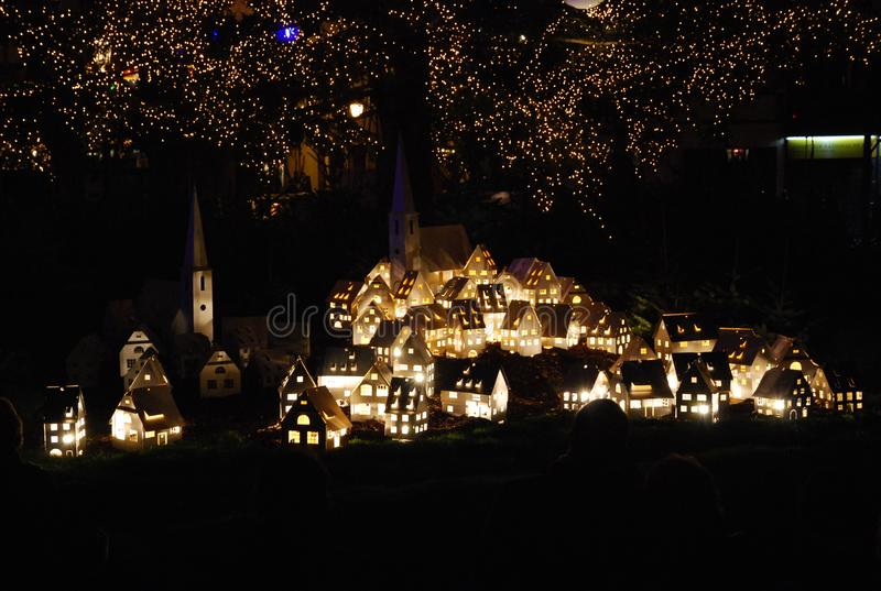 Scenery under the Christmas tree. Strasbourg, France on the eve of Christmas stock image