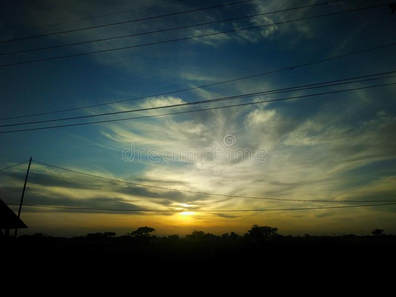 Scenery view blue hours sky. Sunset, landscape stock photos