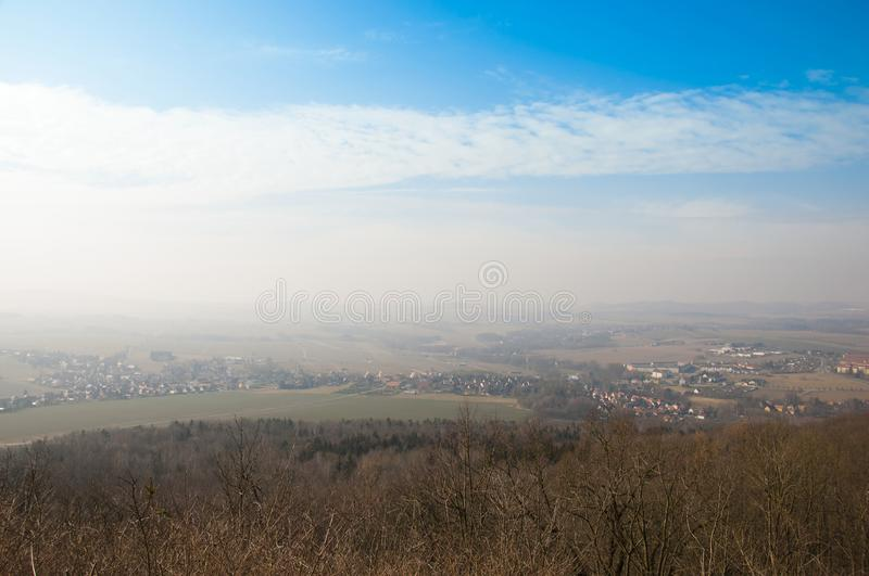 The scenery view from the hill. Of the Lobauer Berg hill royalty free stock photo