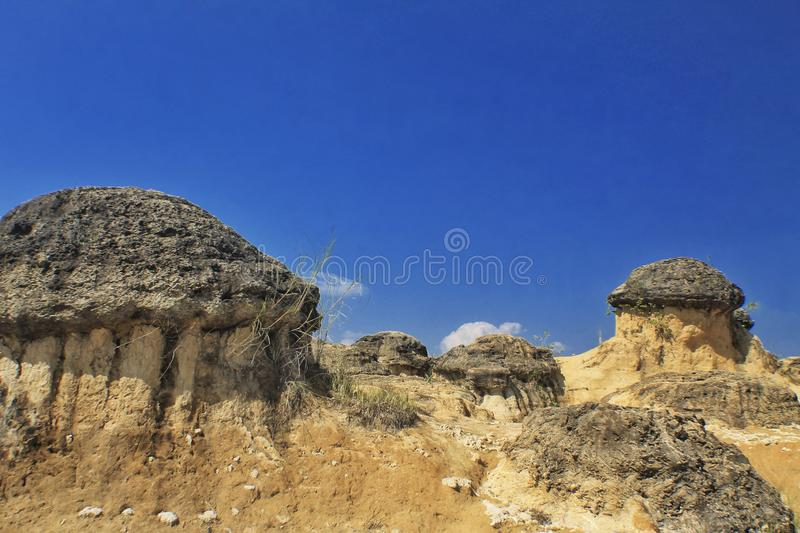 Scenery view of mushroom hill. Landscape, nature, blue, sky, stons, stone stock photo