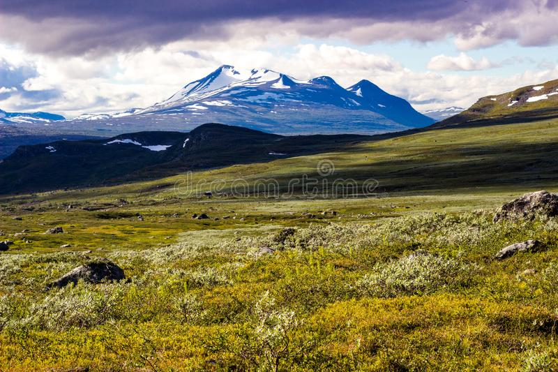 Scenery view in the Swedish north. Sarek national park, nice place for hiking, camping, being into the wild royalty free stock images