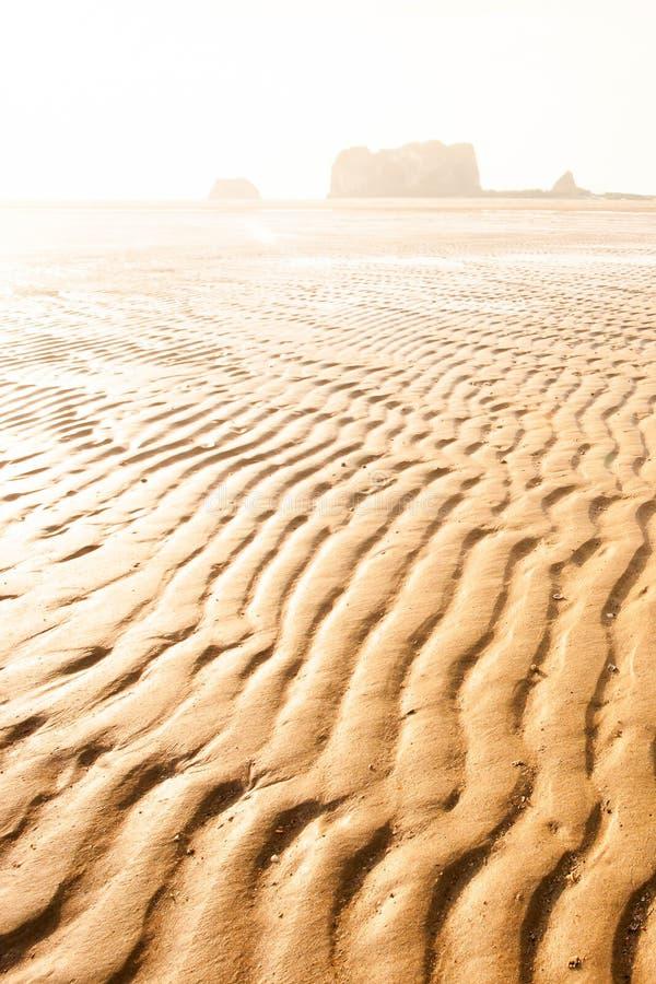 Scenery of wavy sandy beach of tropical sea at dusk, art shape of sandy ripples on sunny summer stock photos