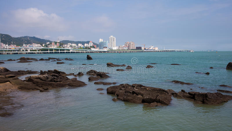 The scenery of Xiamen. The beautiful scenery in xiamen. I take the photo on the Gulangyu. Distant is the road around the island stock photo