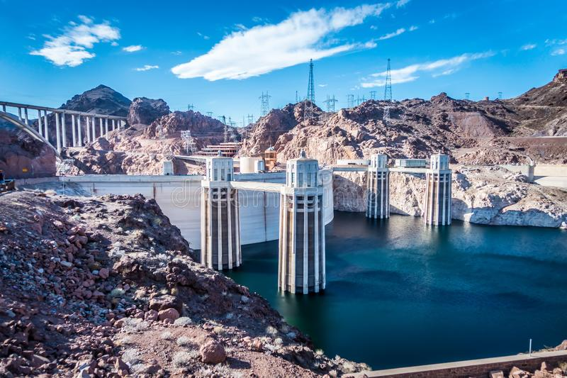 Scenes around Hoover dam and Mike O 'Callaghan - Pat Tillman Mem. Orial Bridge Plaza royalty free stock image