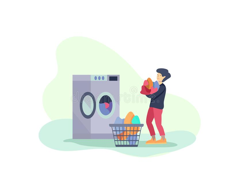 Scenes with the boy doing housework, children helping their parents clean the house, washing clothes iand putting things in the. Wardrobe or closet. Vector royalty free illustration