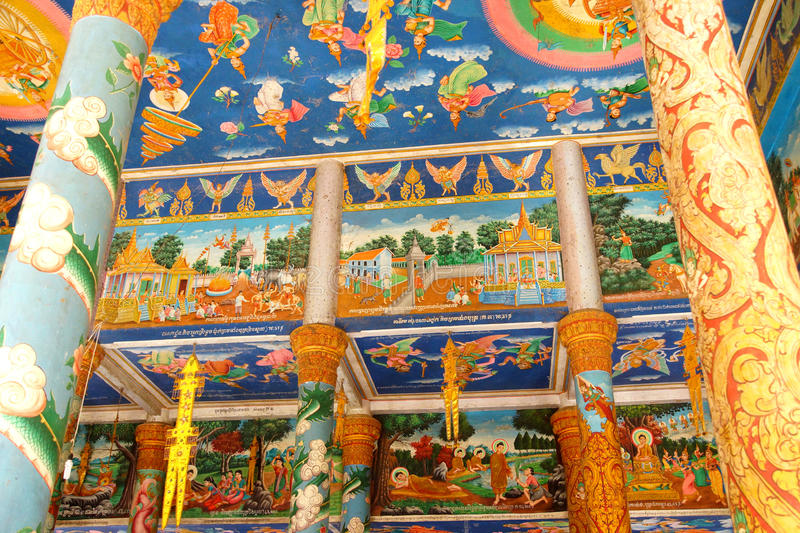 Scenes from Buddha's at Wat Nokor royalty free stock images