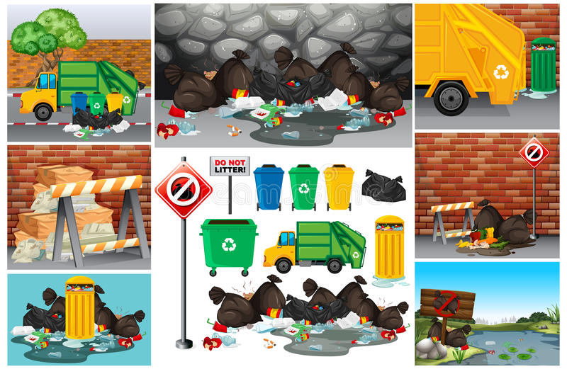 Scenes with dirty trash on the road stock illustration