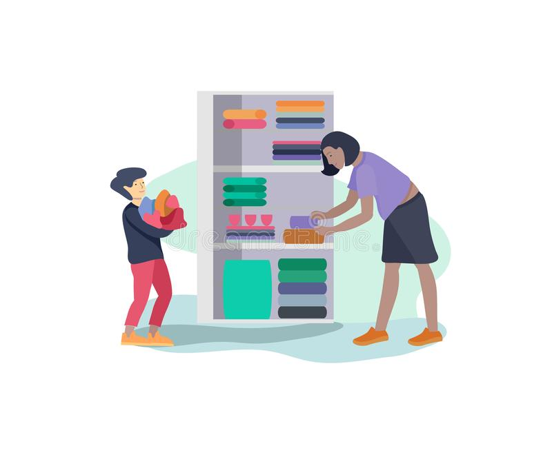 Scenes with the family doing housework, child boy helping mother clean the house, washing clothes iand putting things in. The wardrobe or closet. Vector royalty free illustration