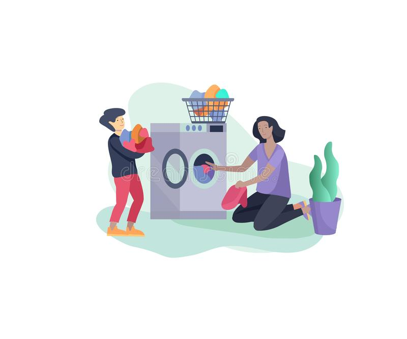 Scenes with the family doing housework, child helping their mother clean the house, washing clothes iand putting things. In the wardrobe or closet. Vector vector illustration