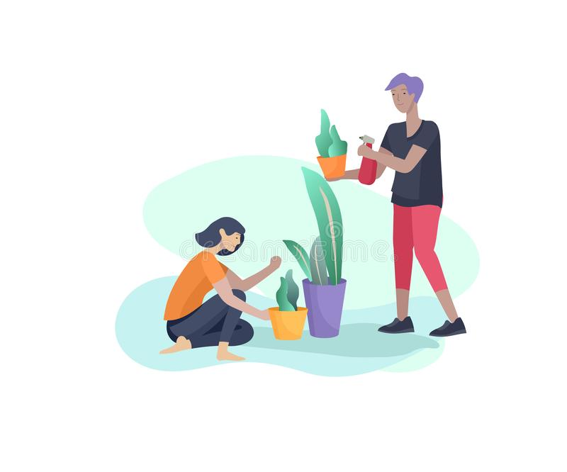 Scenes with family doing housework, couple home cleaning, washing greens, cleaning home garden, water flower. Vector. Illustration cartoon style vector illustration