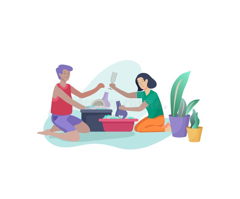Scenes with family doing housework, couple man and woma home cleaning, washing dishes, wipe dust, water flower. Vector. Illustration cartoon style stock illustration