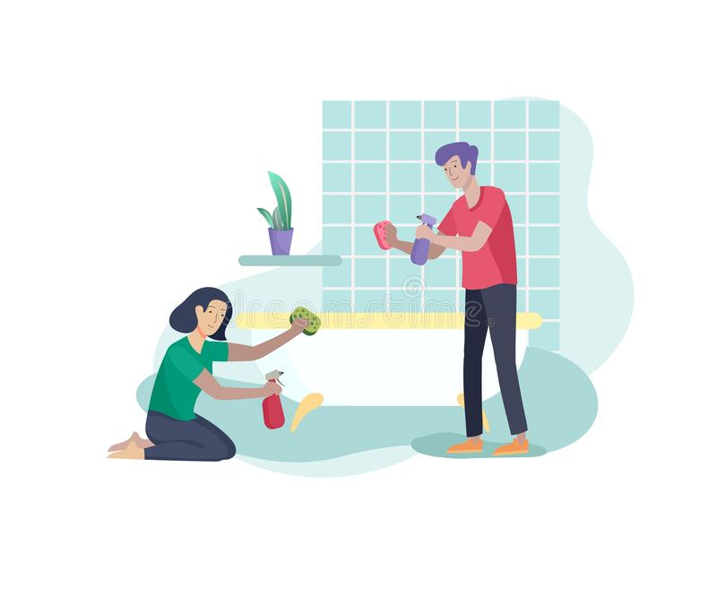 Scenes with family doing housework, couple man and woma home cleaning, washing toilet, wipe dust in bathroom. Vector. Illustration cartoon style stock illustration