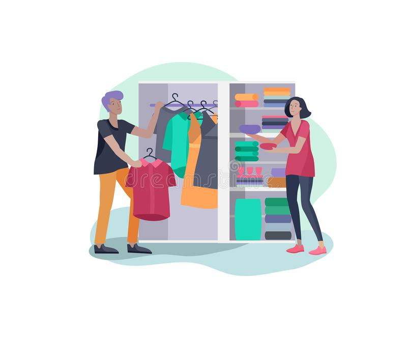 Scenes with the family doing housework, couple man and woman clean the house, washing clothes iand putting things in the. Wardrobe or closet. Vector stock illustration