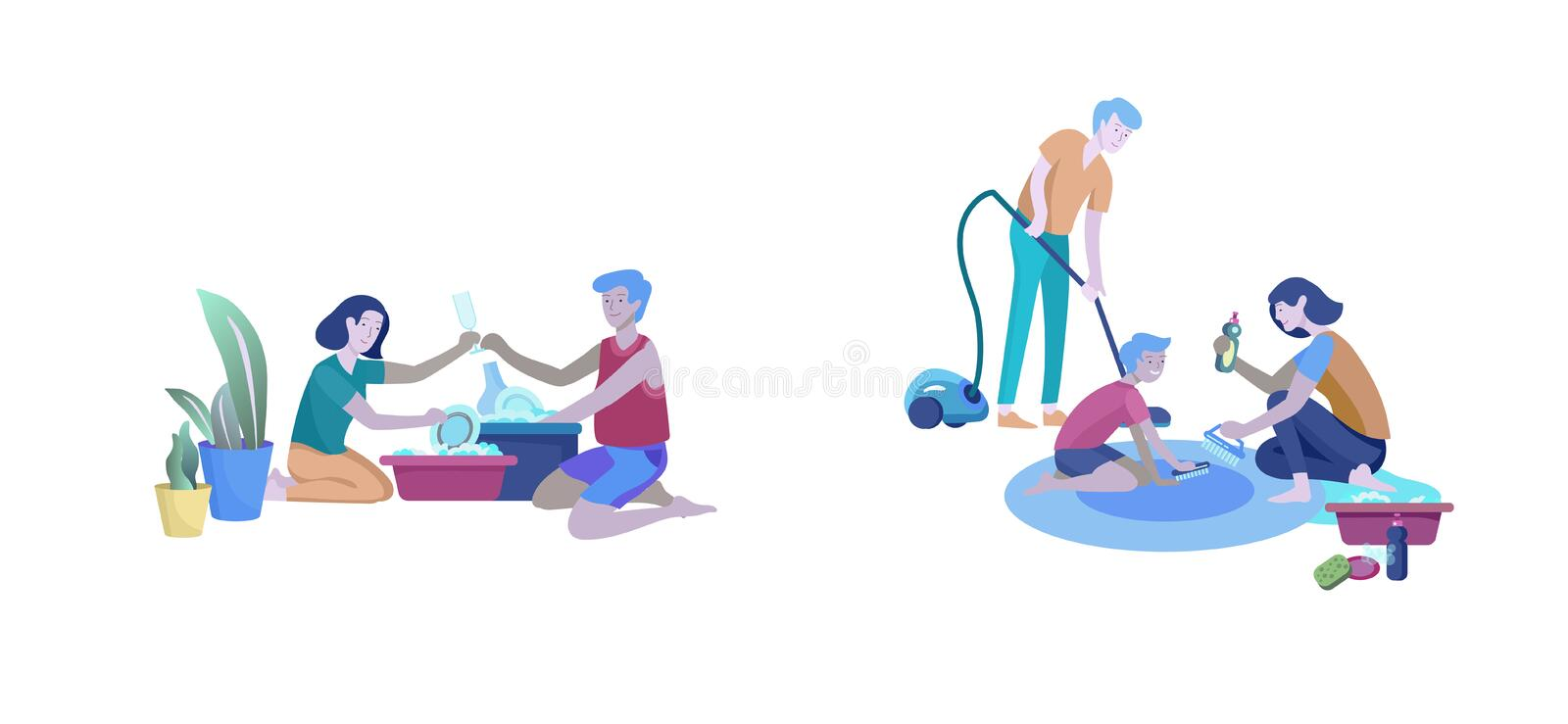 Scenes with family doing housework, couple man and woman home cleaning, washing dishes, cleaning carpet and floor, wipe. Dust, vacuum out. Vector illustration vector illustration