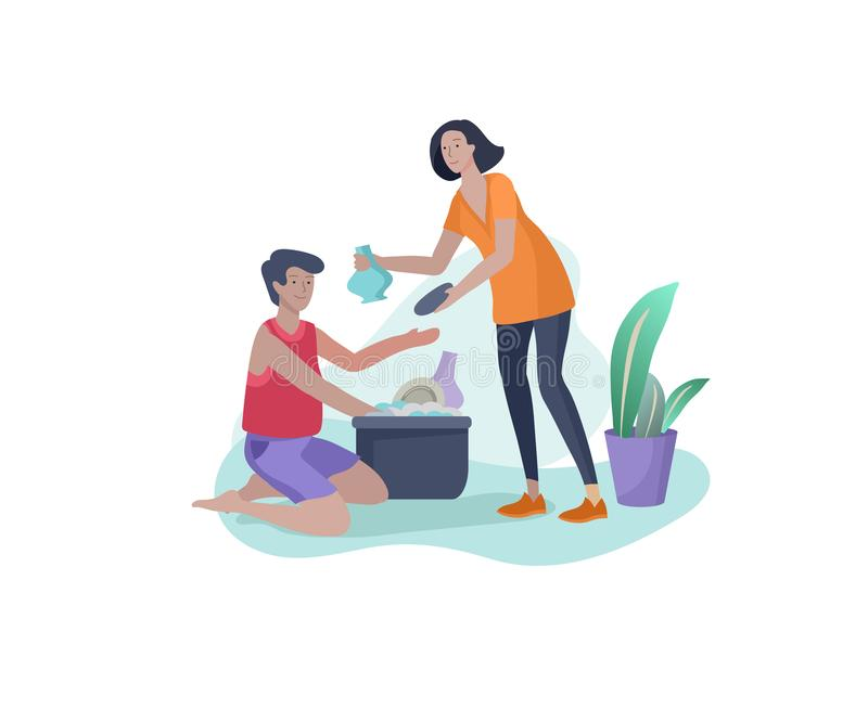 Scenes with family doing housework, couple man and woman home cleaning, washing dishes, wipe dust. Vector illustration. Cartoon style vector illustration
