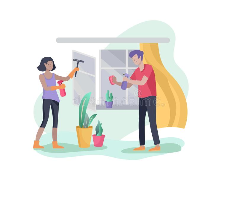 Scenes with family doing housework, couple man and woman home cleaning, washing and cleaning window, wipe dust, water. Flower. Vector illustration cartoon style vector illustration