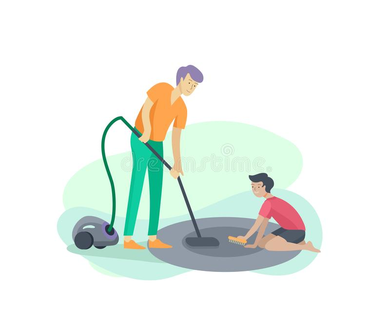 Scenes with family doing housework, kids boy helping father with home cleaning, washing dishes, fold clothes, cleaning. Window, carpet and floor, wipe dust vector illustration