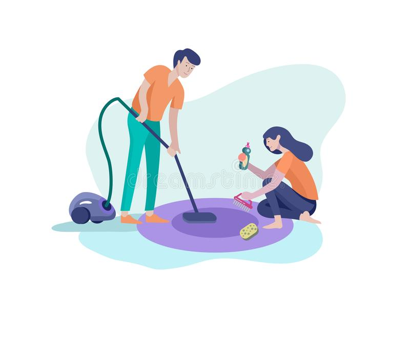 Scenes with family doing housework, kids boy helping father with home cleaning, washing dishes, fold clothes, cleaning. Scenes with family doing housework, kids stock illustration