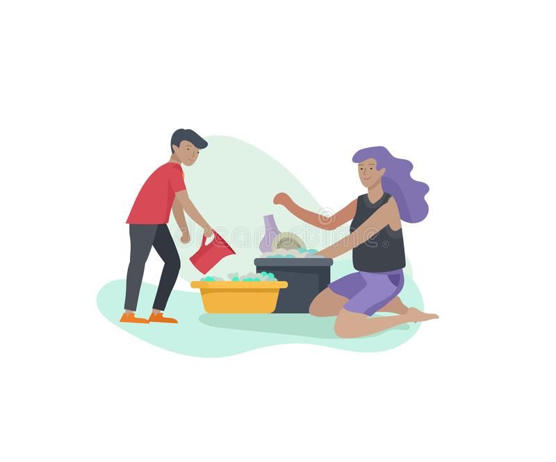 Scenes with family doing housework, kids helping mother with home cleaning, washing dishes, wipe dust, water flower. Vector illustration cartoon style royalty free illustration