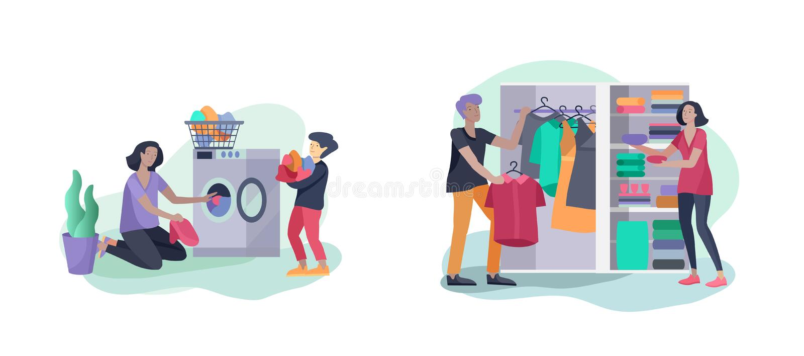 Scenes with family doing housework, kids helping parents with home cleaning, fold clothes in wardrobe, washing clothes. In machine, wipe dust. Vector stock illustration