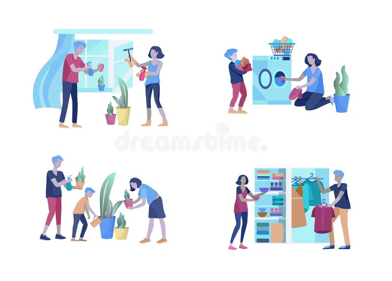 Scenes with family doing housework, kids helping parents with home cleaning, washing dishes, fold clothes, cleaning. Scenes with family doing housework, kids vector illustration