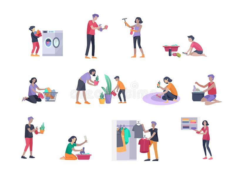 Scenes with family doing housework, kids helping parents with home cleaning, washing dishes, fold clothes, cleaning. Window, carpet and floor, wipe dust, water vector illustration