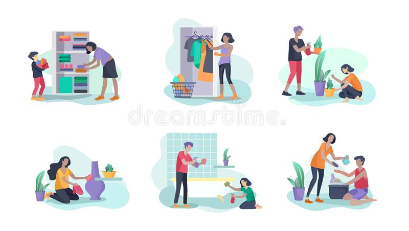 Scenes with family doing housework, kids helping parents with home cleaning, washing dishes, fold clothes, cleaning. Window, carpet and floor, wipe dust, water royalty free illustration