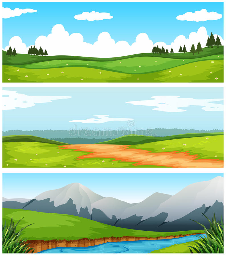 Scenes with field and road in countryside vector illustration
