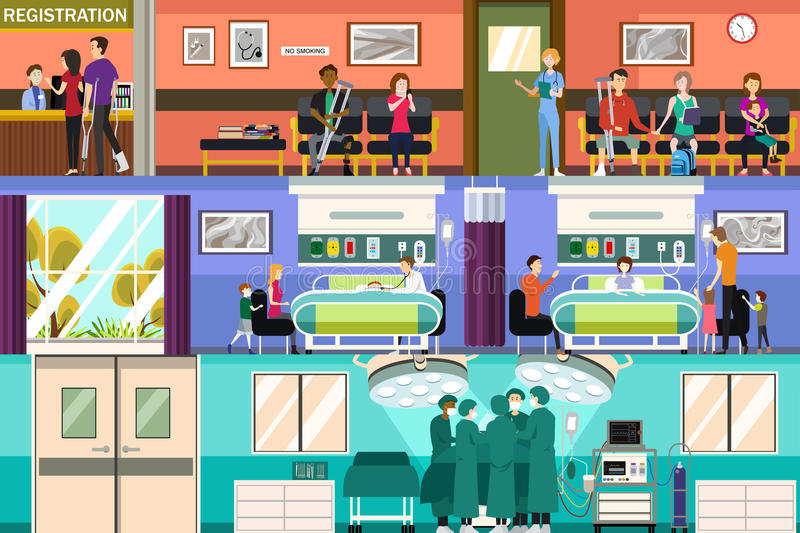 Scenes at the Hospital Emergency Room and Surgery Room royalty free illustration