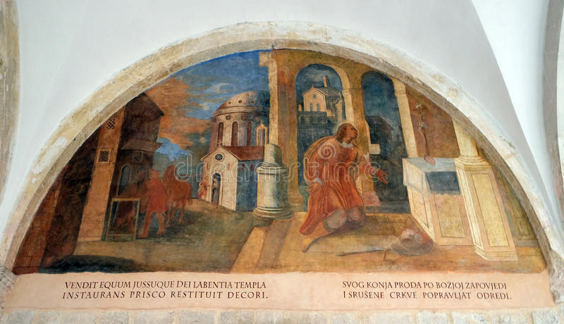 Scenes from the life of St. Francis of Assisi, Franciscan monastery of the Friars Minor in Dubrovnik. The frescoes with scenes from the life of St. Francis of royalty free stock images