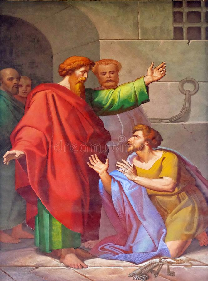 Scenes from the life of St. Paul: Conversion of the Jailer. The fresco with the image of the life of St. Paul: Conversion of the Jailer, basilica of Saint Paul stock photography