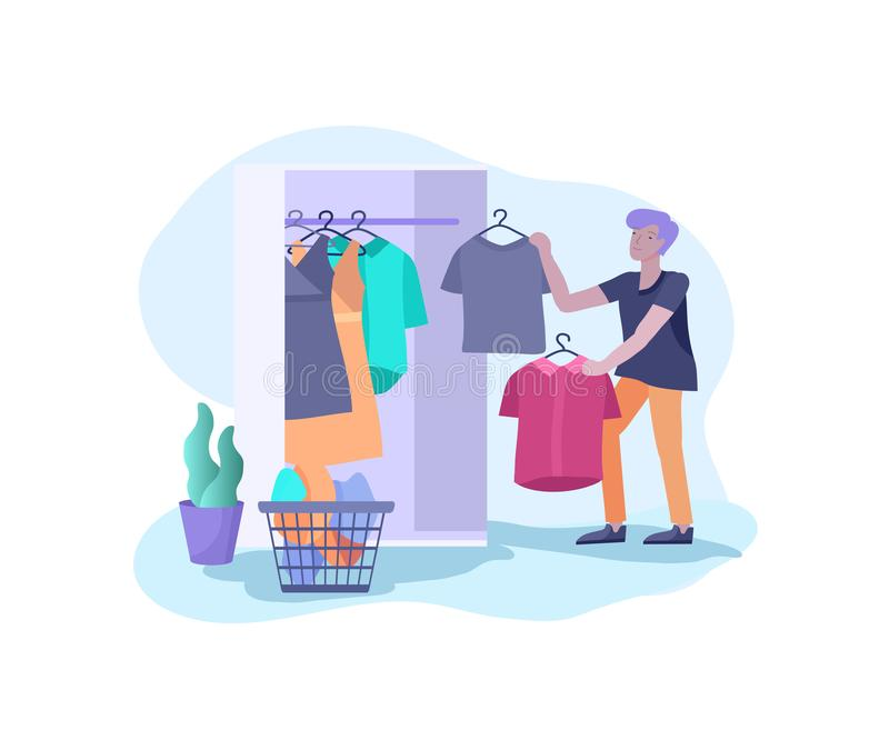 Scenes with the man doing housework, clean the house, washing clothes iand putting things in the wardrobe or closet. Vector illustration of cartoon style royalty free illustration