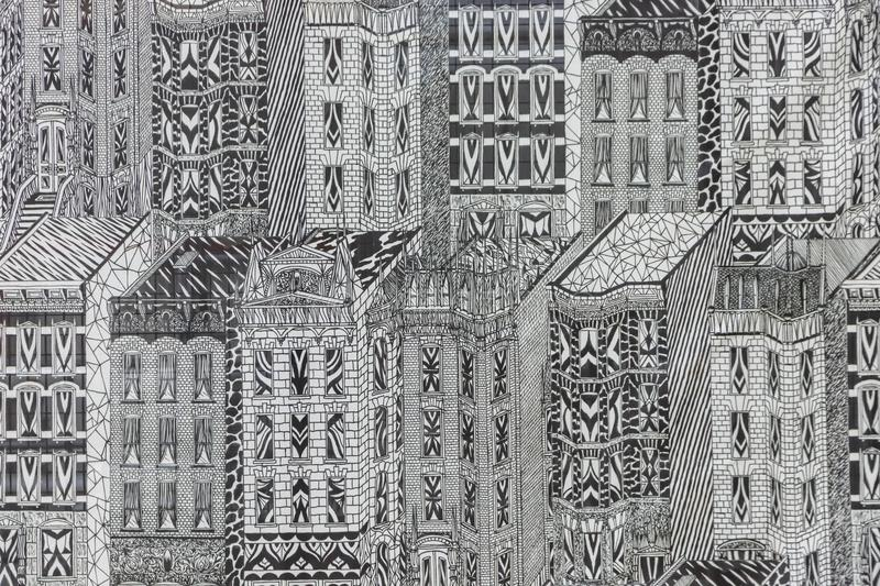 Scenes From A Thriving Metropolis On A Summers Day. Scenes of a thriving metropolis on a summers day stock illustration