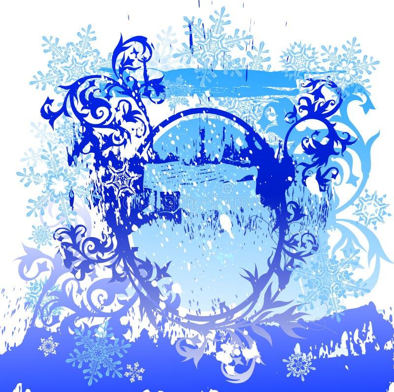 Scenetta & fiocchi di neve di Grunge royalty illustrazione gratis