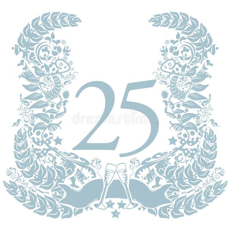 Scenetta con il venticinquesimo anniversario royalty illustrazione gratis