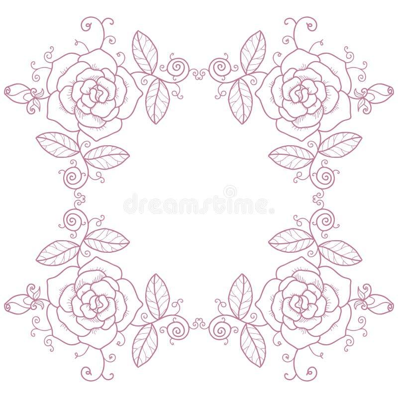 Scenetta delicata con le rose ed i turbinii royalty illustrazione gratis