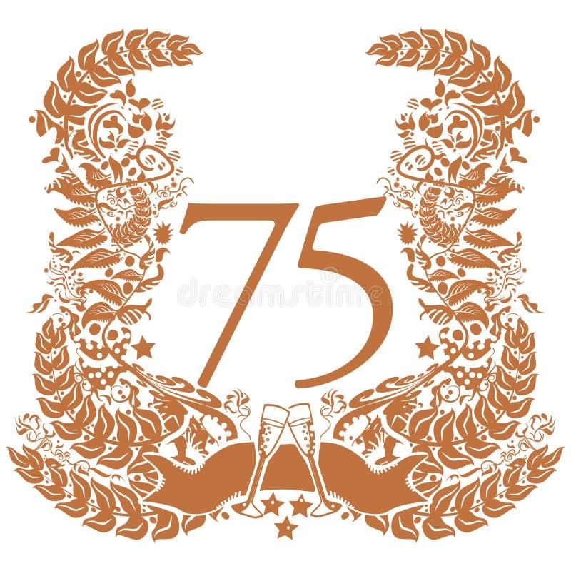 Scenetta per il settantacinquesimo anniversario royalty illustrazione gratis