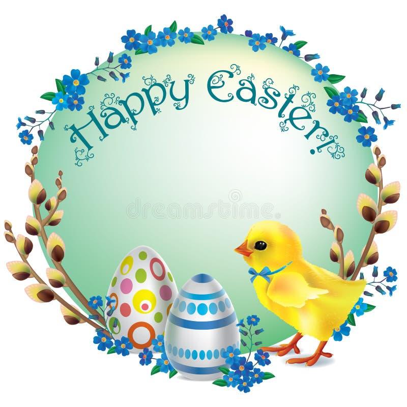 Scenetta rotonda felice di Pasqua illustrazione di stock