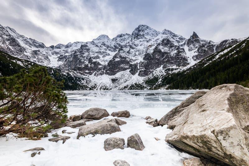 Scenia Landscape vid Morskie Oko-sjön i Polen Tatra-bergen på Winter royaltyfria bilder