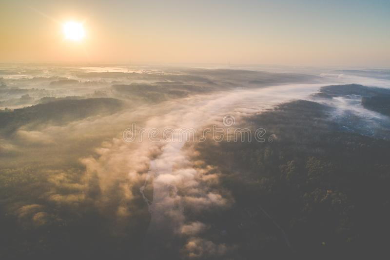 River Neris near Vilnius, Lithuania. Scenic aerial landscape of river mist and sunrise in fall season. river Neris near Vilnius, Lithuania royalty free stock photos