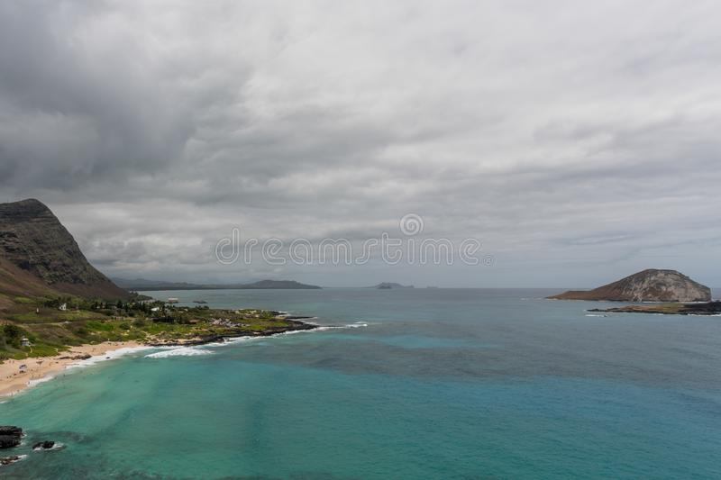 Scenic aerial Makapuu Point vista on Oahu stock photography