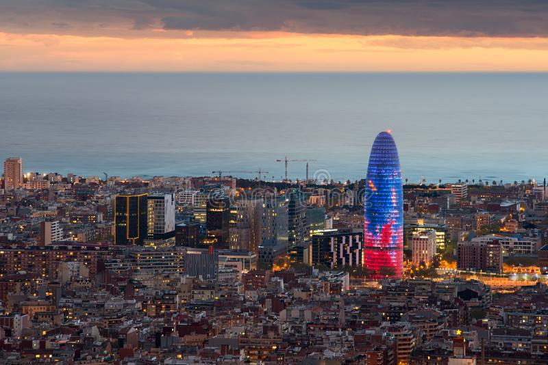 Scenic aerial view of Barcelona city skyscraper and skyline at n. Ight in Barcelona, Spain stock photos
