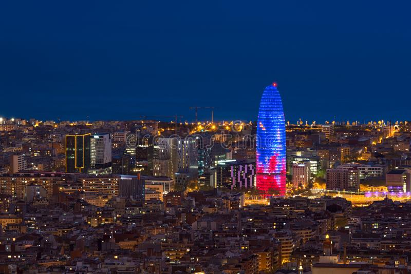 Scenic aerial view of Barcelona city skyscraper and skyline at night in Barcelona, Spain stock photo