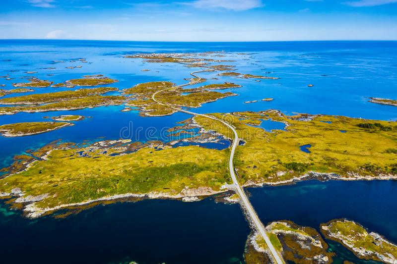 Scenic aerial view of beautiful road with bridge on the island Smola, Norway.  stock images