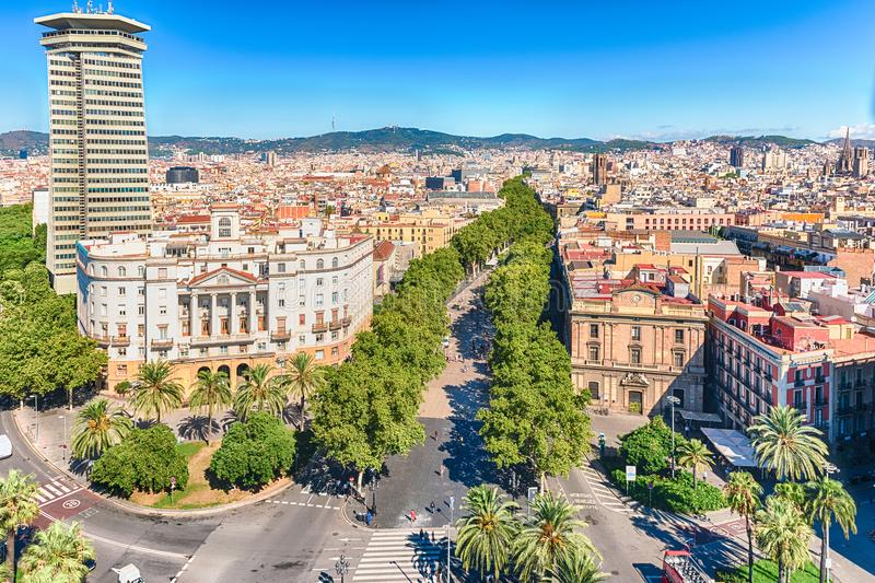 Aerial view of La Rambla pedestrian mall, Barcelona, Catalonia,. Scenic aerial view of La Rambla, tree-lined pedestrian mall and popular tourist sight in stock photography