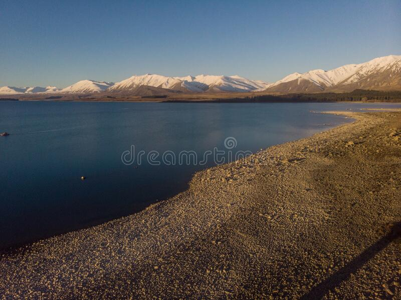 Scenic aerial view of Lake Tekapo, South Island, New Zealand royalty free stock image