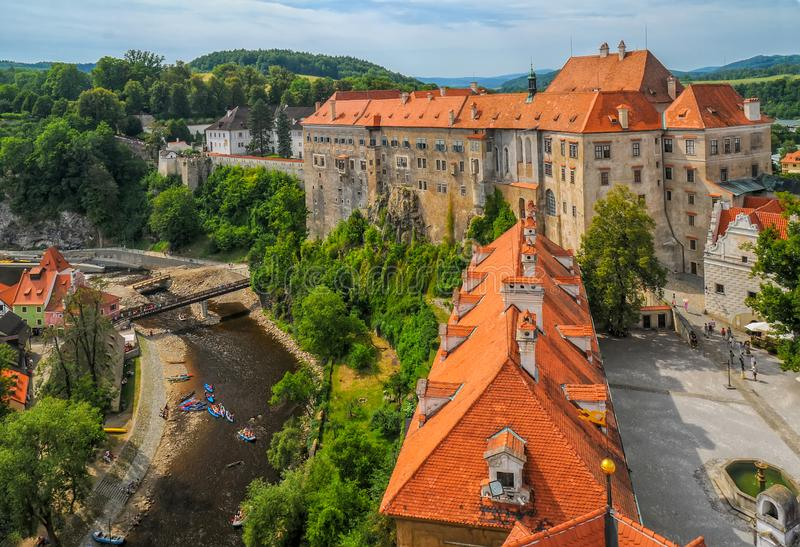 Scenic aerial view over the castle in Cesky Krumlov, Czech Republic royalty free stock photos