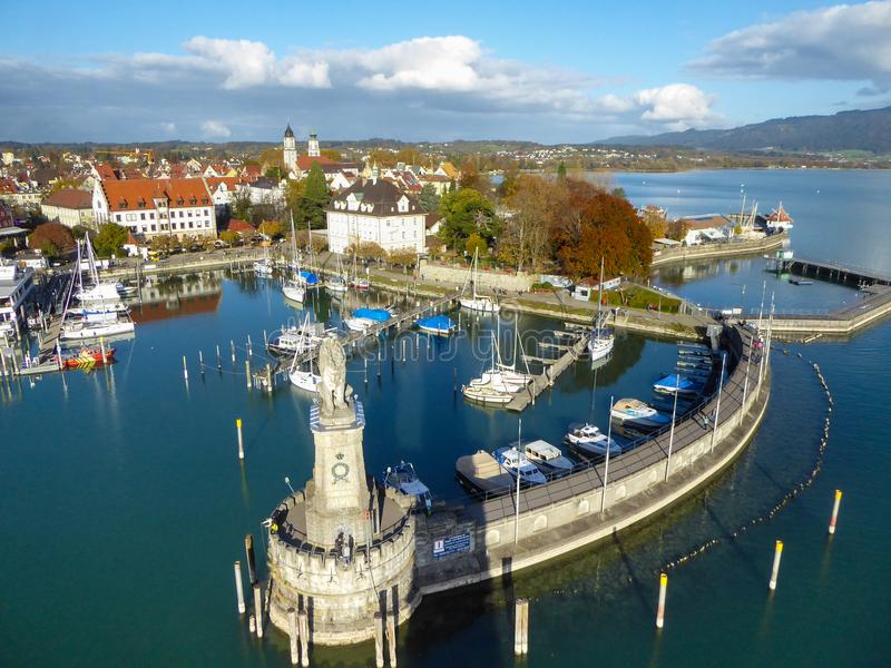 Aerial view of Lindau harbor on Lake Constance, Germany royalty free stock photo